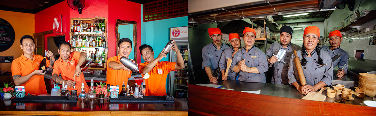 The Bartenders and Kitchen Team at Secret Garden Beach Resort